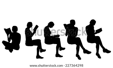 Vector silhouette of a woman reading book. - stock vector