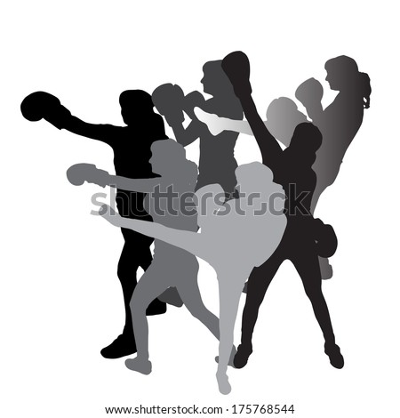 Vector silhouette of a woman who boxes on a white background.