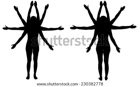 Vector Silhouette of a woman who has many hands. - stock vector