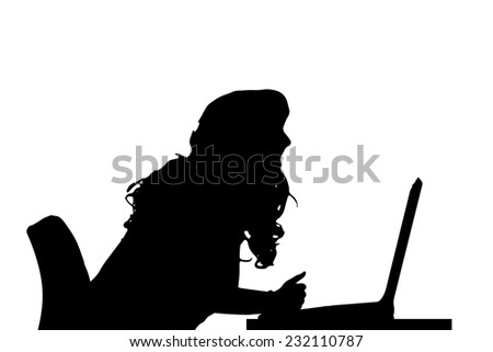 Vector silhouette of a woman who is sitting at the computer.