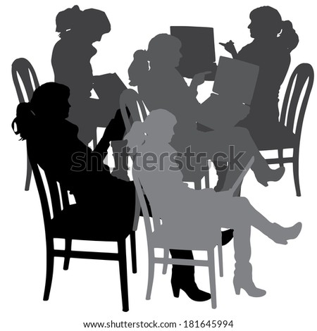 Vector silhouette of a woman who is sitting on a chair on a white background.