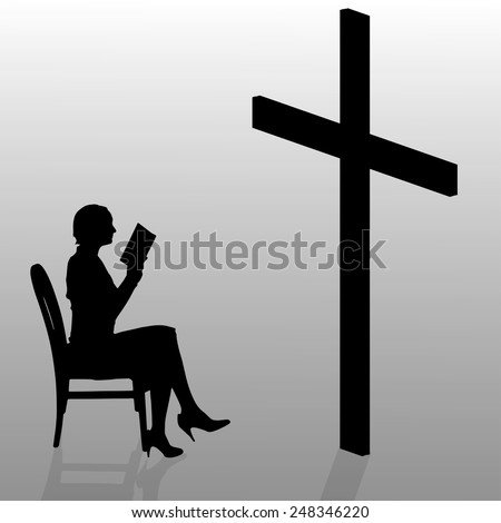 Vector silhouette of a woman who prays in church. - stock vector