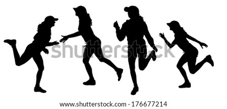 Vector silhouette of a woman who runs a white background.