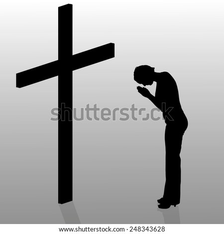 Vector silhouette of a woman who stay in front of a cross.