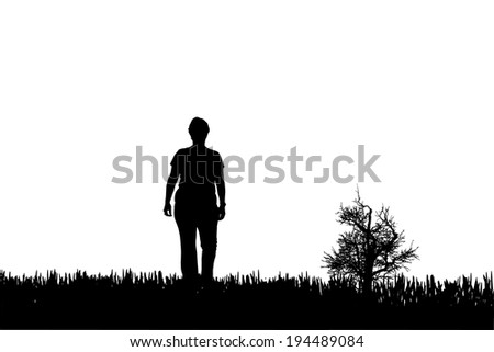 Vector silhouette of a woman who walking.