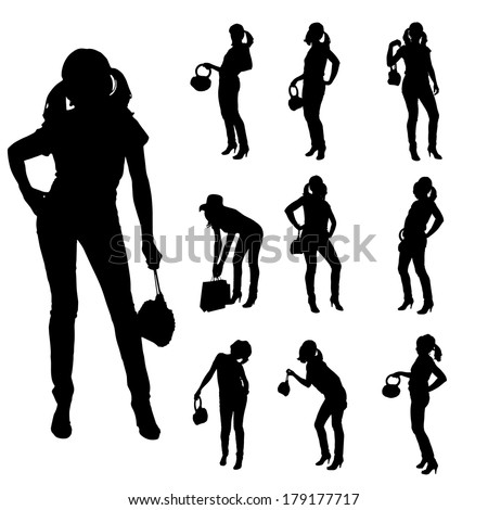 Vector silhouette of a woman with a handbag on a white background.