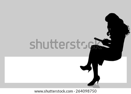Vector silhouette of a woman with a sign for text. - stock vector