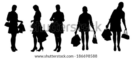 Vector silhouette of a woman with shopping bags.