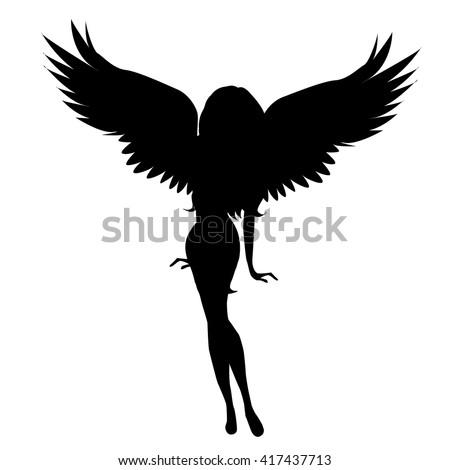Силуэт девушки с крыльями