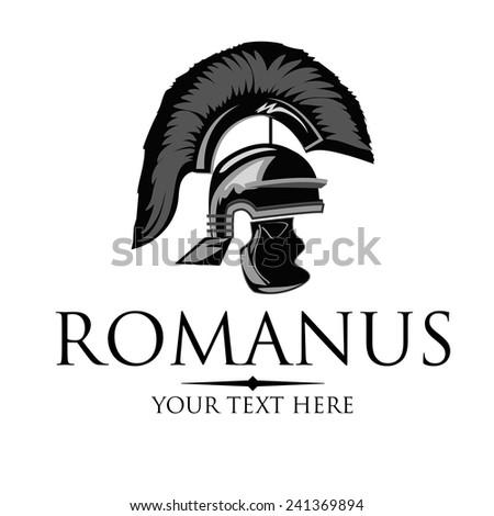 Vector silhouette of an ancient Roman helmet - stock vector