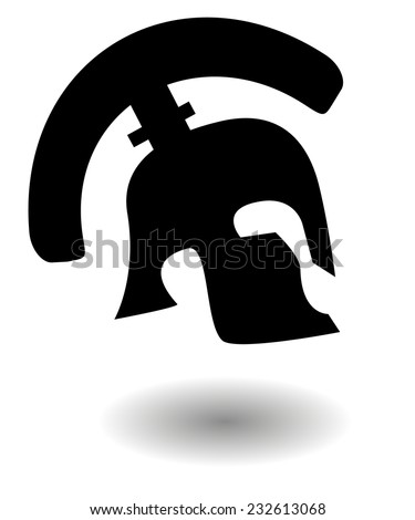 Vector silhouette of an ancient Roman or Greek helmet used in combat by soldiers of the legions with a long protective face piece and shadow - stock vector