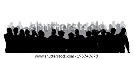Vector silhouette of anonymous people on a white background.