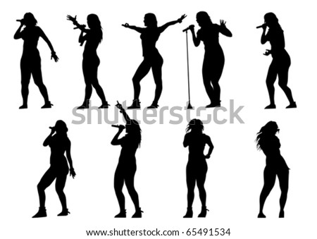 Vector silhouette of artists of hard rock. A live performance on stage - stock vector