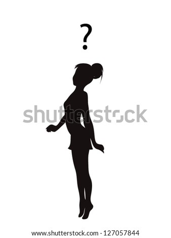 Vector silhouette of asking young girl with a question about some problem - stock vector