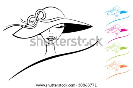 Vector silhouette of beautiful woman in a big summer hat. Color variations.
