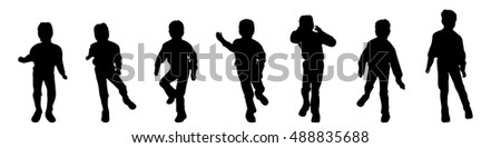 Vector silhouette of boy on white background.