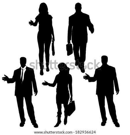 Vector silhouette of business people on a white background. - stock vector