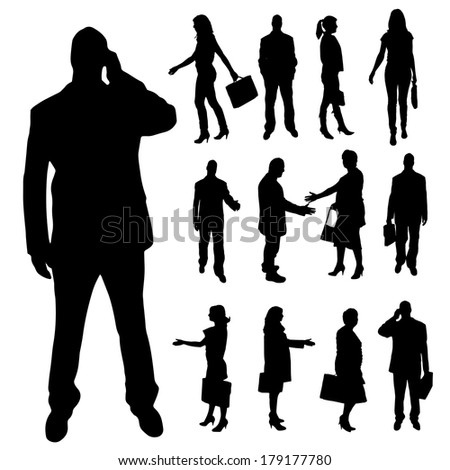 Vector silhouette of business people with a handbag on a white background.