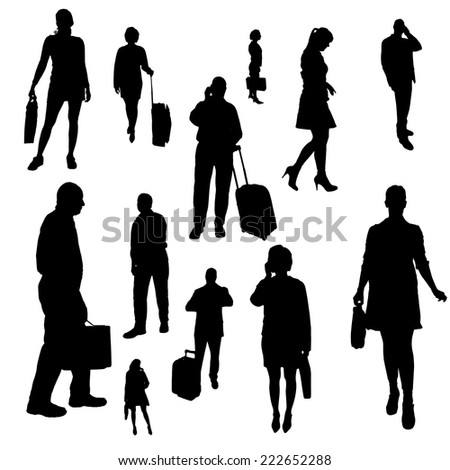 Vector silhouette of businessman on a white background.