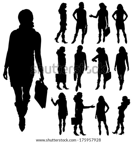 Vector silhouette of businesswoman on a white background. - stock vector
