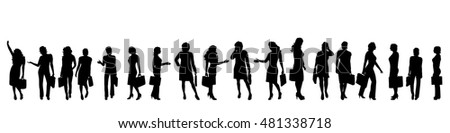Vector silhouette of businesswoman on white background.