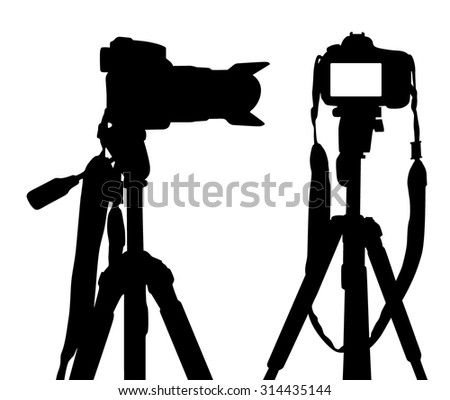 Vector silhouette of camera on white background