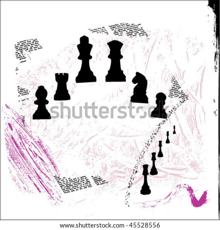 Vector silhouette of chess pieces in grunge style - stock vector