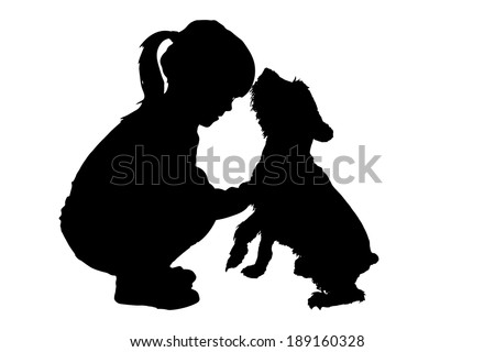 Vector silhouette of child with dog on a white background. - stock vector