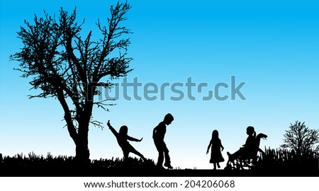 Vector silhouette of children in nature along the beautiful days.
