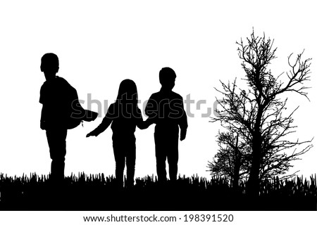 Vector silhouette of children in nature on white background.