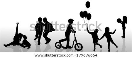 Vector silhouette of children on white background. - stock vector