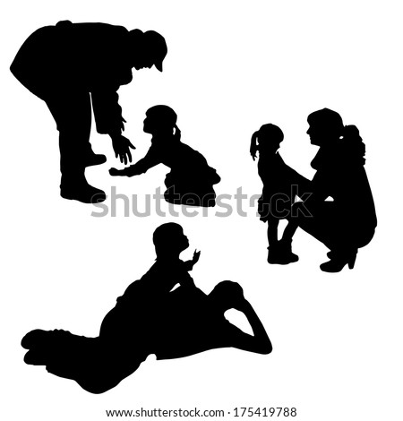 Vector silhouette of children playing with their parents. - stock vector