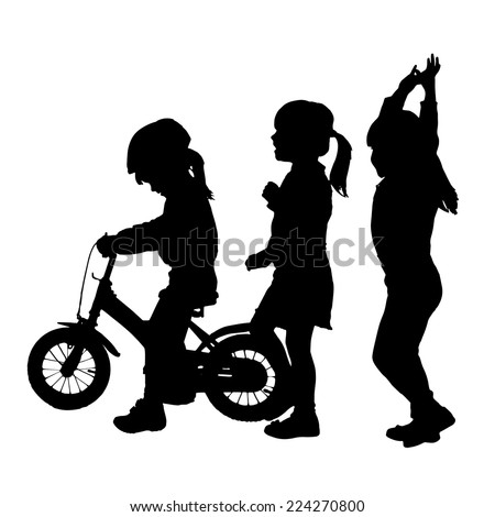 Vector silhouette of children who play on a white background. - stock vector