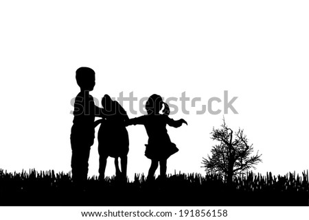 Vector silhouette of children with dog on a white background.
