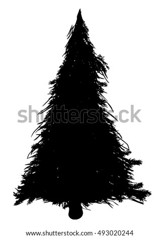 Vector silhouette of Christmas tree on a white background