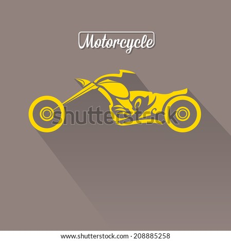 vector Silhouette of classic motorcycle on grey background. motorcycle flat icon. freedom concept - stock vector