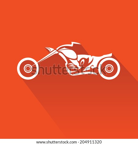 vector Silhouette of classic motorcycle on red background. motorcycle flat icon. freedom concept - stock vector