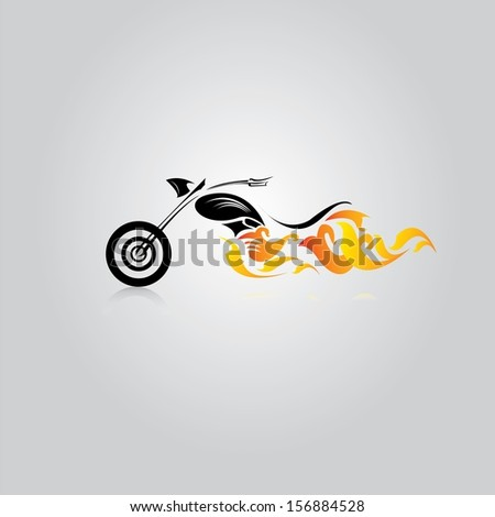 vector Silhouette of classic motorcycle  with fire wings. motorcycle icon - stock vector