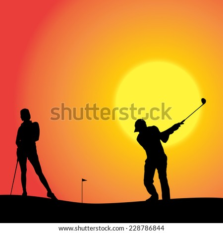 Vector silhouette of couple playing golf at sunset. - stock vector