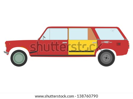 Vector silhouette of damaged station wagon car. - stock vector