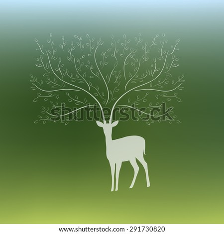 Vector silhouette of deer with tree branch horns on blurred background. - stock vector