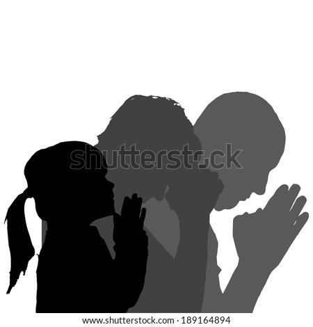 Vector silhouette of family in different situations. - stock vector