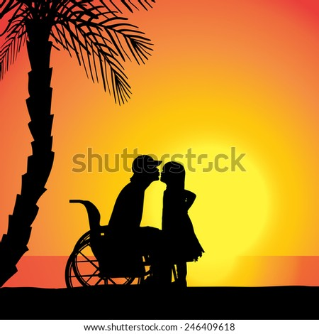Vector silhouette of family who are in wheelchairs.