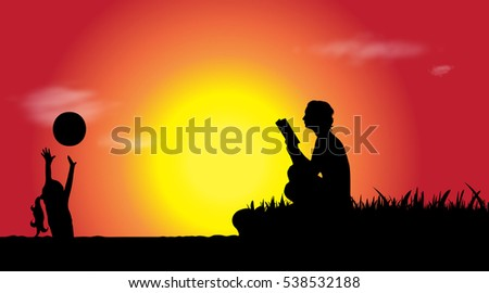 Vector silhouette of family who is in lake at sunset.