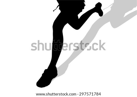 Vector silhouette of female feet on a white background.