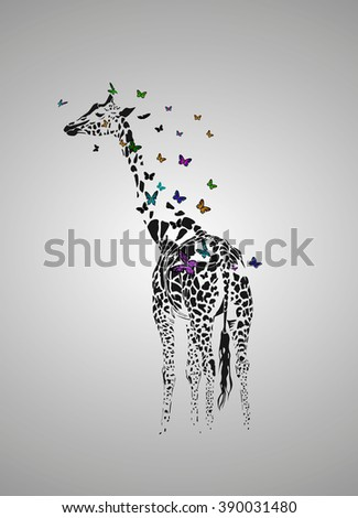 Vector silhouette of  giraffe with butterfy - stock vector
