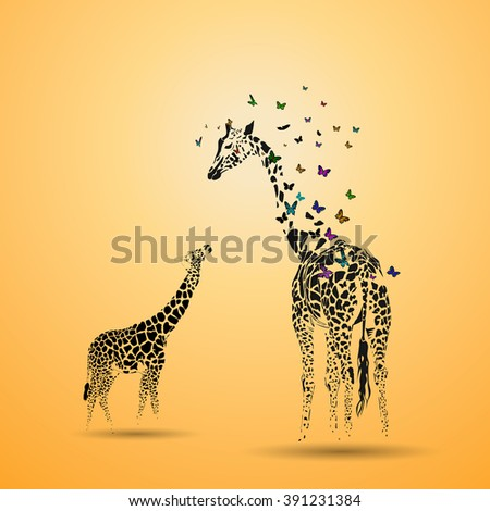 Vector silhouette of  giraffe with her baby. - stock vector