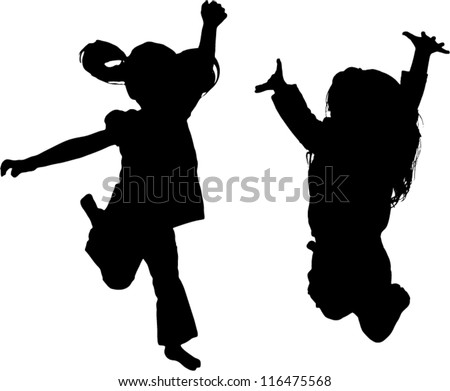 Vector Silhouette of girl jumping up in the air - stock vector