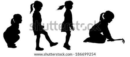 Vector silhouette of girl on a white background. - stock vector