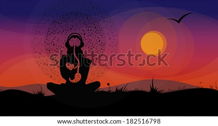 Vector silhouette of girl, sitting on the hill in front of sunset, listening to the music and enjoying it.  - stock vector